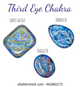 Third eye (Brow) chakra stones set. Close up illustration of gems drawn by hand with colored pencils.