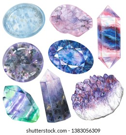 Third eye chakra stones set. Illustration of gems drawn by hand with watercolor. Healing crystals angelite, fluorite, amethyst, iolite, lepidolite