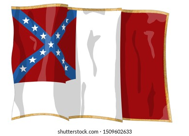 Third national flag variation. Gold tassles/fringe. Historic Flag. US Civil War 1860's. Confederate States of America