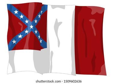Third national flag variation. Historic Flag. US Civil War 1860's. Confederate States of America