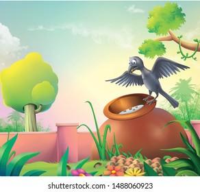 thirsty crow cartoon art work