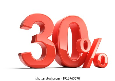 Thirty 30 perecent. Glossy red thirty percent sign isolated on white. Percentage, sale, discount concept. 3d rendering
