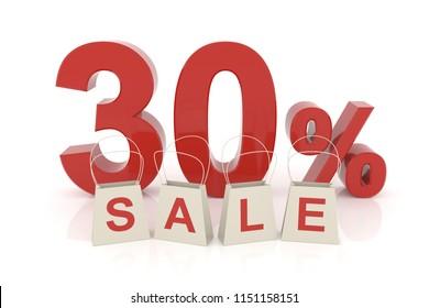 Thirty percent sale. 3D rendering.
