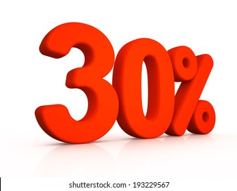 thirty percent symbol on white background 3D