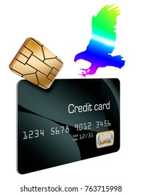 This is a 3-D illustration about security features on a credit card that keep your financial information safe. A hologram eagles lands on a credit card and an EMV security chip is there too.