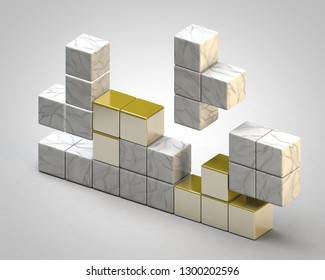 This is a 3d illustration of falling blocks like in a tetris game.