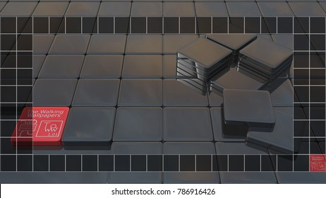 This is a 3D rendering background for computer screen 1920x1080 with a taskbar at the bottom. If you use it, you can place your icons in the black cases, and they will be more visible.