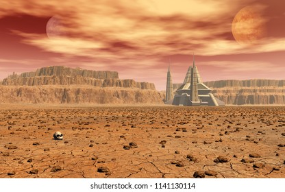 This 3d rendering image shows a station on a alien planet with red sky and dusty clouds