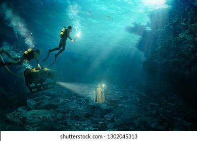 At this composing, divers discover Atlantis