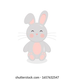 This is cute cartoon bunny on white background. Illustration in flat style.