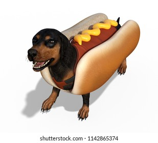 This dachshund looks cute in his hotdog costume - 3D render.
