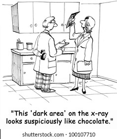 """""""This 'dark area' on the x-ray looks suspiciously like chocolate."""""""