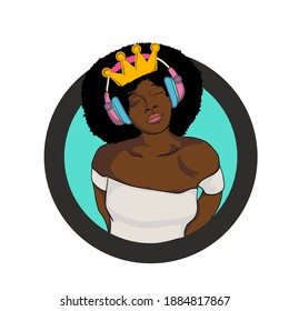 This digital art is about a lady who is empowering her beauty with music.  The illustration is suited for logos, stickers, or merchandises such as in shirts, mugs, cups, bags, emblems or cases.