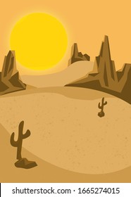 This is a flat Design that describe about the silence of sunny desert