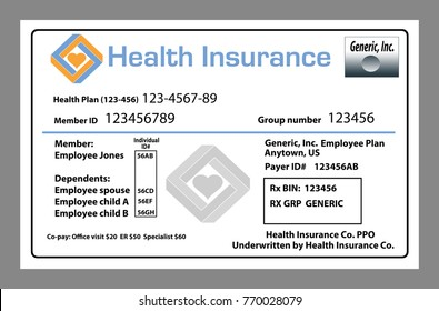 This is a generic, mock, health insurance card from an employer sponsored health care plan.