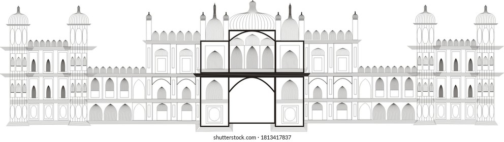 This is the graphical design of Janaki Mandir (Temple), The heart of Janakpurdham. It is situated in Janakpurdham, Nepal.