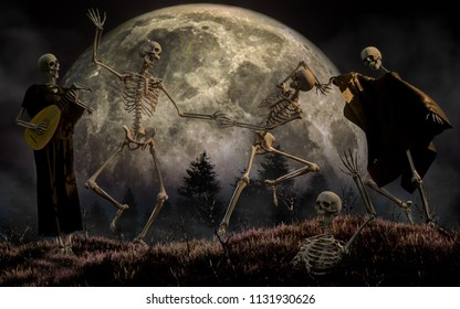 In this horror scene, three skeletons dance in the moonlight while a forth plays the lute.  Meanwhile, another skeleton emerges from the ground to join the party. 3D Rendering