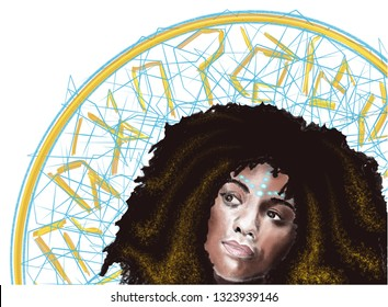 This illustration could be the perfect background image for a Black History Month communication. It shows a reflexive woman with Afro-futuristic elements.