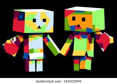This is an illustration of Danbo toys from Japan with fresh colors