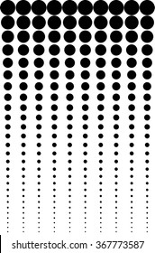 This illustration with a pattern of solid black dots that run vertically and reduce as they run down the design. Dots are against a solid white background