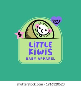 This illustration represents an amazing Baby Apparel Brand Logo Template With A Funny Kiwi Illustration