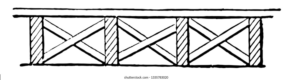 This illustration represents Strutted Floor which is made from crossed struts to secure the floor joists, vintage line drawing or engraving illustration.