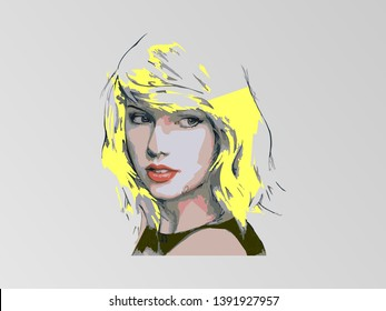 this is an illustration of Taylor Swift with very beautiful yellow hair