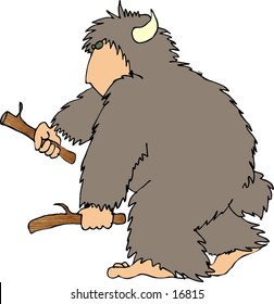 This illustration that I created depicts a hairy beast with a human face, hands & feet.  This one is carrying 2 sticks.