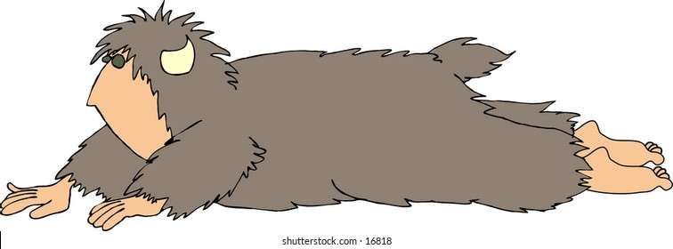This illustration that I created depicts a hairy beast with a human face, hands & feet. This one is crawling on the ground.