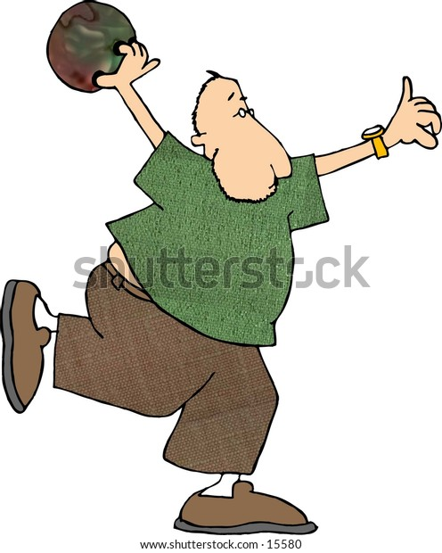 This illustration that I created depicts a man throwing a bowling ball.