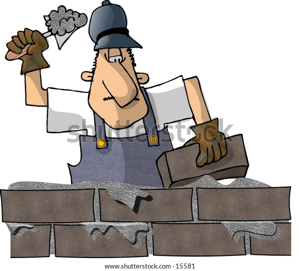 This illustration that I created depicts a man laying brick.
