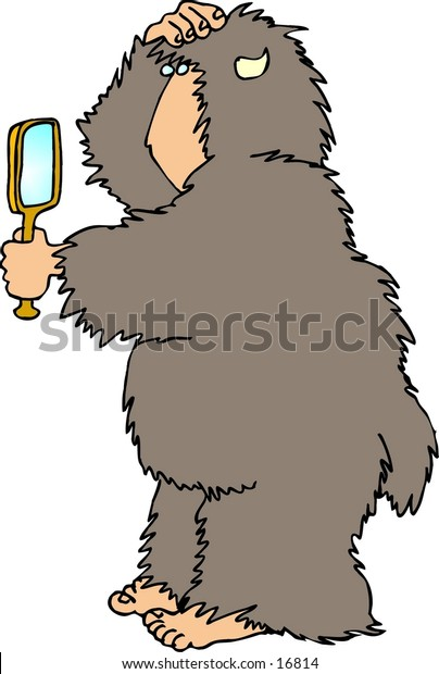 This illustration that I created depicts a hairy beast with a human face, hands & feet.  This one is looking in a mirror.