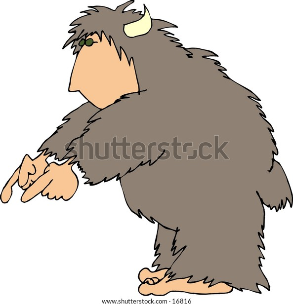 This illustration that I created depicts a hairy beast with a human face, hands & feet.  This one is pointing to the ground.