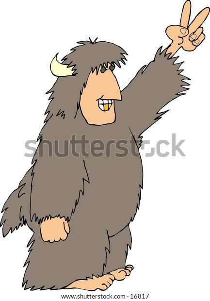 This illustration that I created depicts a hairy beast with a human face, hands & feet.  This one is making the peace sign.