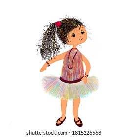This is an illustration of young kid with colourful dress, flaunting with her curly hair