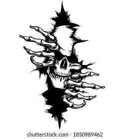 this image matter by skull in the wall silhouette and illustration, logo
