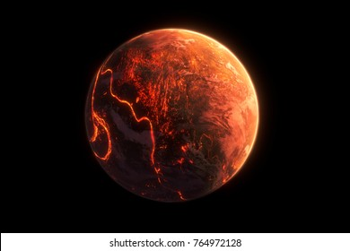 This image represent a generic lava planet or earth formation. It is a realistic 3d rendering