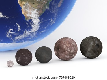 This image represents the size comparison between the moons of Uranus with Earth in a precise scientific 3D design.