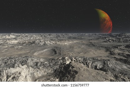 This image shows a 3D render rocky desert from an alien planet and her hot moon