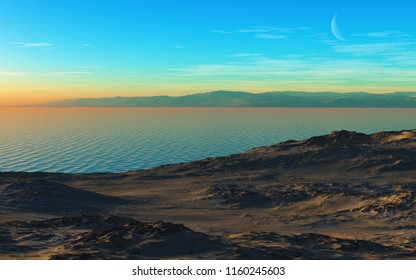 This image shows a 3D rendering mountain lake at evening