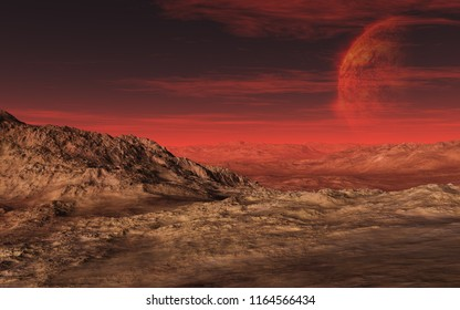 This image shows a 3D rendering valley desert with a hot planet