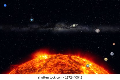 This image shows a 3d rendering from our solar system
