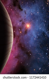 This image shows a 3d rendering gas giant with sun