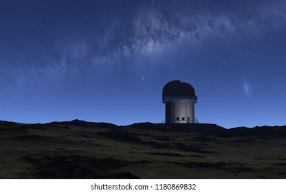 This image shows a 3d rendering observatory with milky way