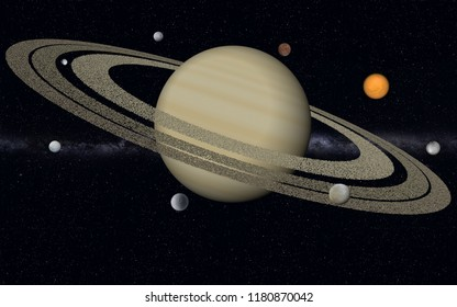 This image shows 3d rendering saturn with her biggest moons