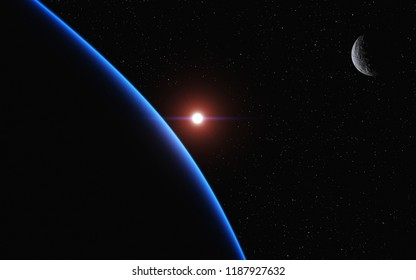 This image shows a 3d rendering sunrising from a blue planet with her moon