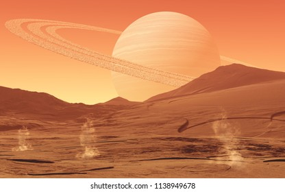 This image shows a dusty alien world with gas giant and little dust devils