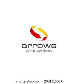 this is a logo of two encircling arrows in red and orange color you can download for your logo