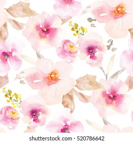 This Modern Pink and Purple Floral Pattern Features a Repeating Flower Background Design with Pastel Colors