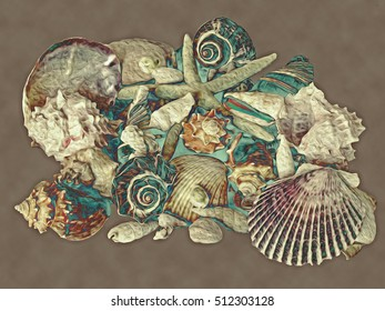 This is one of a series of illustrations of colorful, stylized and abstracted seashells. This is one of a series of illustrations of colorful, stylized and abstracted seashells.